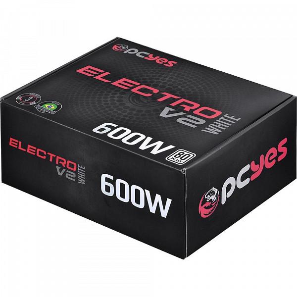 Fonte PCYes Electro V2 600W, 80 Plus White - ELV2WHPTO600W