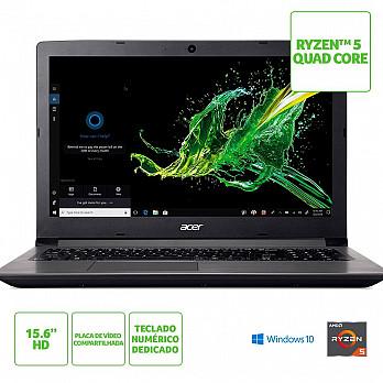 Notebook Acer Aspire 3 AMD Ryzen 5 2500U, 12GB, HD 1TB, Windows 10 Home, 15.6´, Cinza - A315-41-R4RB