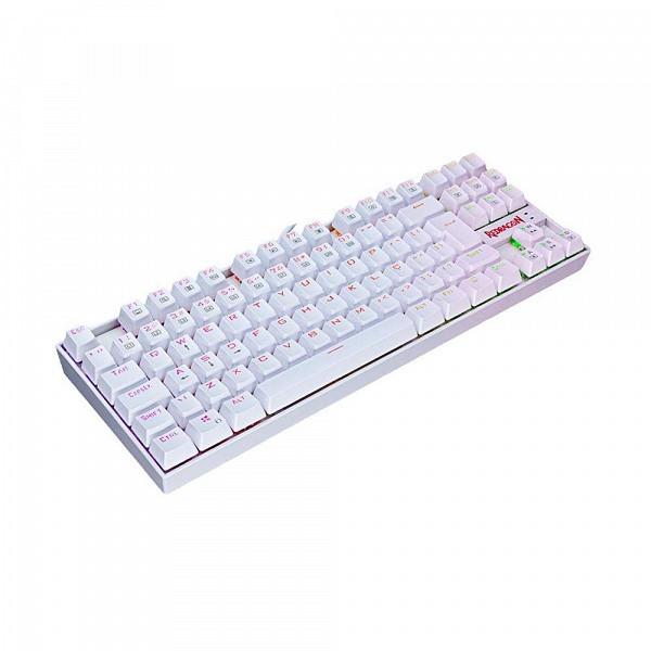 Teclado Mecânico Gamer Redragon Kumara K552W-RGB RGB Lunar White Switch Brown PT