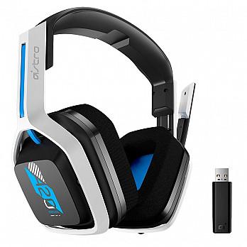 Headset Sem Fio Gamer ASTRO A20 Gen 2, USB, para PlayStation 5/4 PC Mac, Branco/Azul - 939-001877