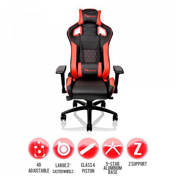 Cadeira Gaming TT Gtf100 Preta e Vermelha Fit Size 4d75mm Gc Gtf-Brmfld-01