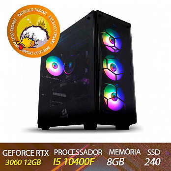 Computador Gamer Patoloco Insane Intel I5 10400F, RTX 3060 12GB, DDR4 8GB, SSD 120