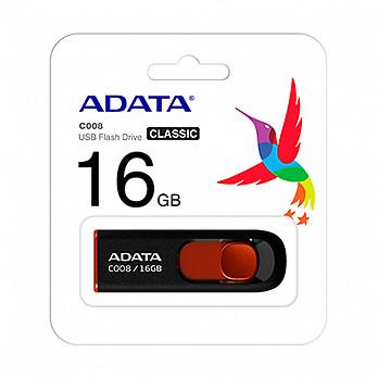Pendrive Adata C008-16gb Preto/Vermelho - AC008-16g-Rkd