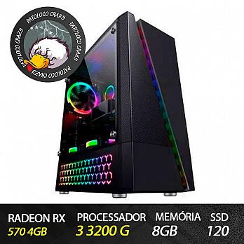 Computador Gamer Patoloco Crazy (Moba) Ryzen 3 3200G, Radeon RX 570 4Gb, 8GB DDR4, SSD 120