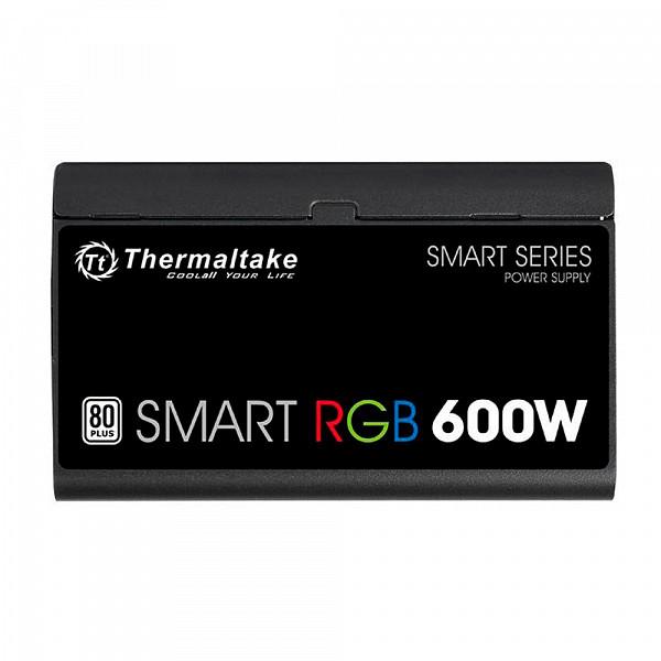 Fonte Thermaltake 600W Smart RGB 80 Plus + Fan Hub/Sleeved Cable - PS-SPR-0600NHFAWB-1