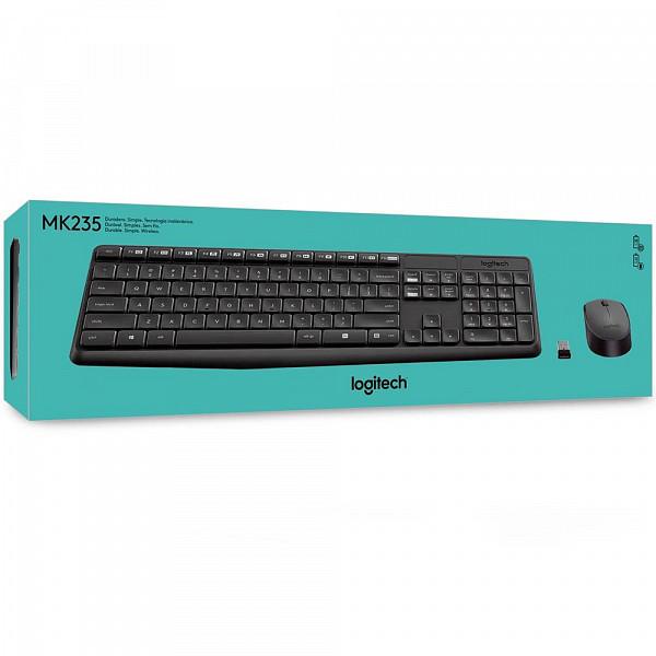 Teclado e Mouse Logitech MK235 Sem Fio Resistente à Água Preto ABNT2