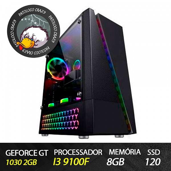 Computador Gamer Patoloco Crazy (Moba) i3 9100F, GT 1030 2GB, 8GB DDR4, SSD 120