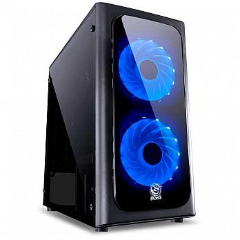 Gabinete Gamer PCYes Venus sem Fonte, Mid Tower, USB 3.0, 2 Fans LED Azul, Preto com Lateral em Acrílico - VENPTAZ2FCA