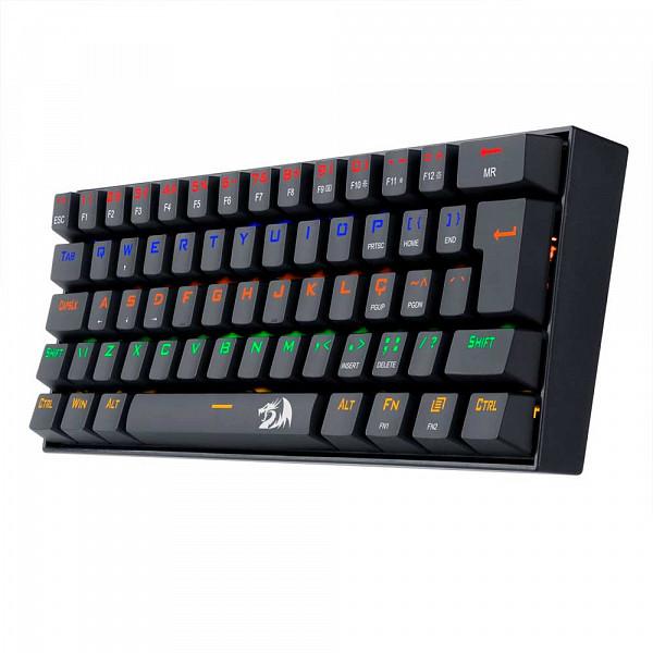 Teclado Gamer Mecânico Redragon Lakshmi, ABNT2, 61 Teclas, Switch Blue, K606R