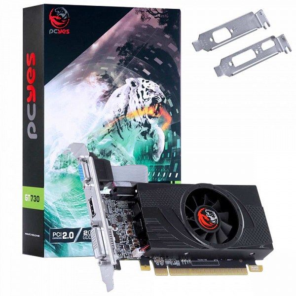 Placa de Vídeo PCyes Geforce GT 730 2GB GDDR5 64Bits com Kit Low Profile Single Fan - PA730GT6402D5LP