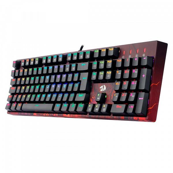 Teclado Gamer Óptico Redragon Infernal Dragon Viserion, RGB, Switch Blue, ID582