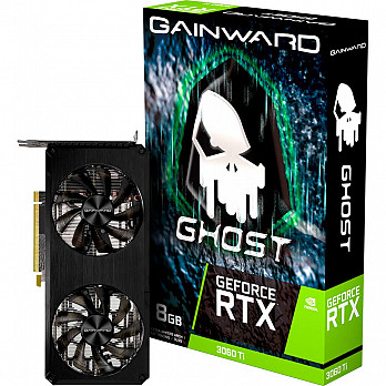 Placa de Vídeo Gainward, GeForce RTX 3060 Ti Ghost  8GB GDDR6 256BITS  - NE6306T019P2-190AB - LHR