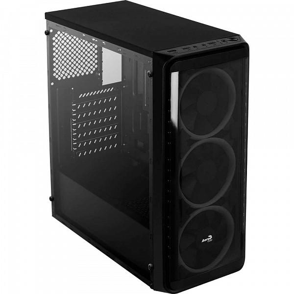 Gabinete Gamer Aerocool SI-5200 RGB, Mid Tower, Com 3 Fans, Lateral em Acrílico, Black, S-Fonte