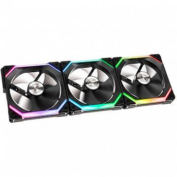 Kit Fan com 3 Unidades, Lian Li, Uni SL120, RGB, 120mm, Hidráulico, 1900RPM, Black, UF-SL120-3B