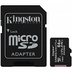 Cartão de Memória Kingston Canvas Select Plus MicroSD 64GB Classe 10 com Adaptador, para Câmeras Automáticas/Dispositivos Android - SDCS2/64GB