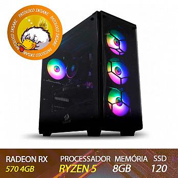 Computador Gamer Patoloco Insane Ryzen 5 3600, Radeon RX 570 4GB, DDR4 8GB, SSD 120