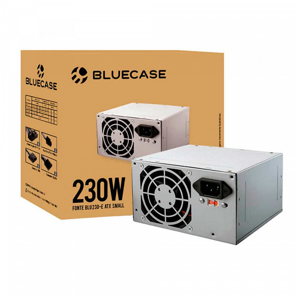 Fonte Bluecase Blu 230-E ATX Small, 230W com Cabo - BLU230ECASE1