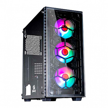 Gabinete Gamer Redragon Diamond Storm Pro, Mid Tower, Com 3 Fans RGB, Vidro Temperado, Black, S-Fonte GC-903