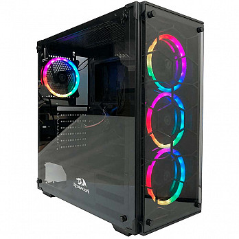 Gabinete Gamer Redragon Wheel Jack Vidro Temperado Black Gc-606bk