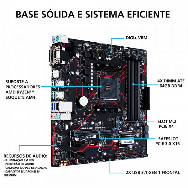 Placa Mãe Asus Prime B450M Gaming/BR, AMD AM4, DDR4