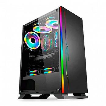 Gabinete BlueCase BG-028 RGB Lateral Acrilico Preto BG028GCASE