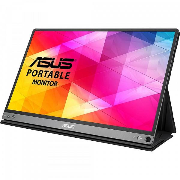 Monitor Portátil Asus LED 15.6´ Widescreen, Full HD, IPS, USB Tipo-C, Dark Gray - MB16AC