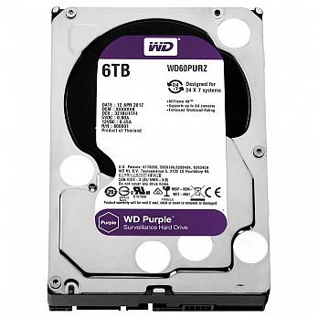 HD WD SATA 3,5´ Purple Surveillance 6TB IntelliPower 64MB Cache SATA 6.0Gb-s - WD60PURZ
