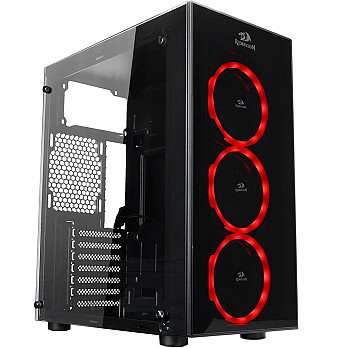 Gabinete Gamer Redragon Thundercracker, Mid Tower, Com 3 Fans RGB, Vidro Temperado, Black, S-Fonte, GC-605