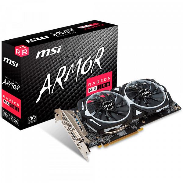 Placa de Vídeo Amd Msi Radeon RX 580 8gb Armor OC 256Bits Gddr5 Pci-Express 3.0 - 912-V341-237
