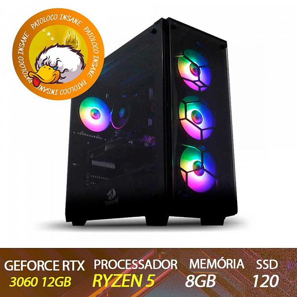 Computador Gamer Patoloco Insane Ryzen 5 3600, RTX 3060 12GB, 8GB DDR4, SSD 120