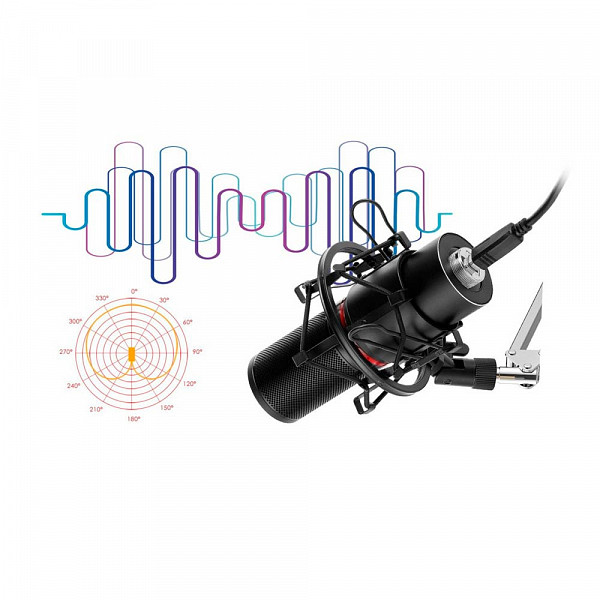 Microfone Gamer Streamer Redragon Blazar C/ Tripé, USB, Black, GM300