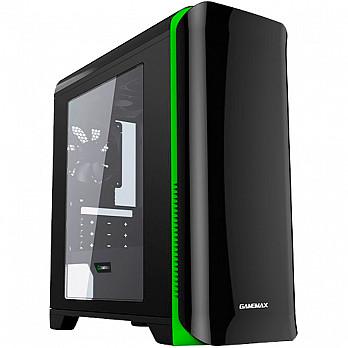 Gabinete Gamemax HERO H602-BG c/Janela Mid Tower s/fonte Preto e Verde