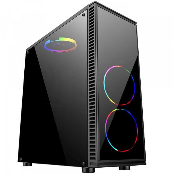 Gabinete Gamer Bluecase BG-014 sem Fonte, USB 3.0, Preto com Lateral em Acrílico - BG014GCASE