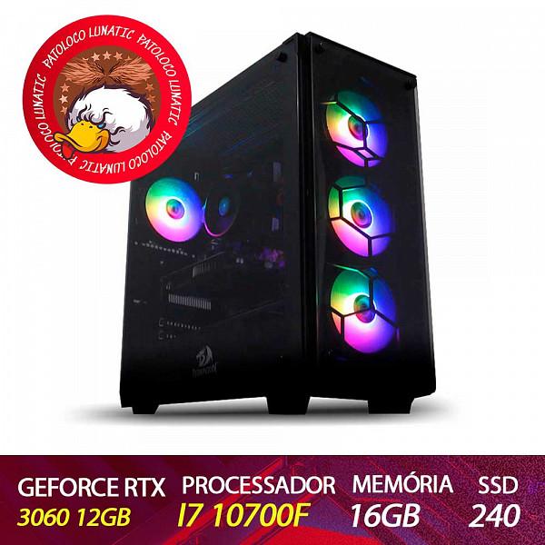 Computador Gamer Patoloco Lunatic Intel I7 10700F, RTX 3060 12GB, DDR4 16GB, SSD 240