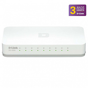 Switch DGS-1008A D-Link 10-100-1000Mbps Gigabit Ethernet com 8 portas