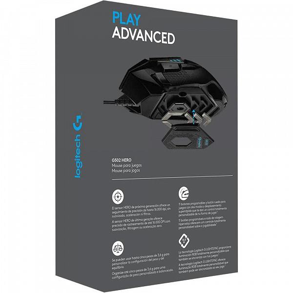 Mouse Gamer Logitech G502 HERO 16K RGB Lightsync 16000DPI - 910-005550