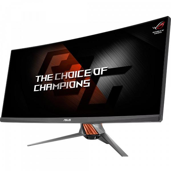 Monitor Gamer LED ASUS 34,Curvo Ultra-Wide,Overclocável 100Hz G-sync, Base Iluminada,Turbo Key, GamePlus, DP, HDMI e USB3.0, ROG Swift - PG348Q
