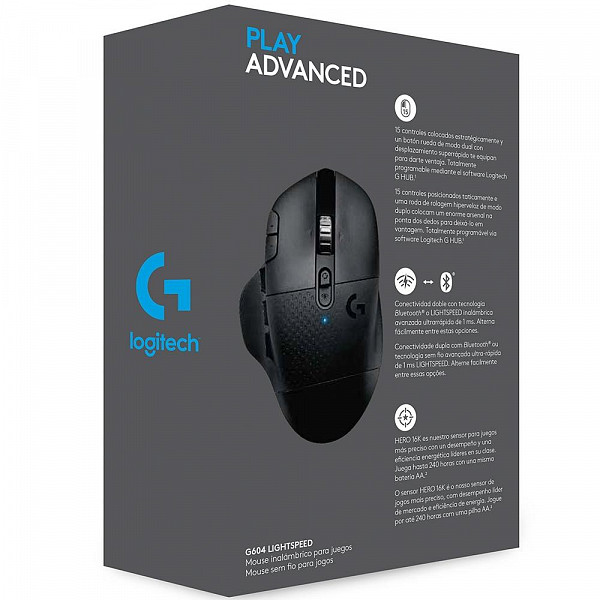 Mouse Sem Fio Gamer Logitech G604 Hero 16k Lightspeed, Bluetooth, 15 Botões, 16000 DPI - 910-005648