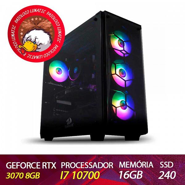Computador Gamer Patoloco Lunatic Intel I7 10700, RTX 3070 8GB, DDR4 16GB, SSD 240